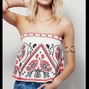 Free People Flirt Alert Embroidered Tube Top SZ M